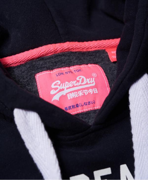 Superdry Sweat à capuche strass Vintage Logo Bleu Marine éclipse | Femme Sweat à capuche