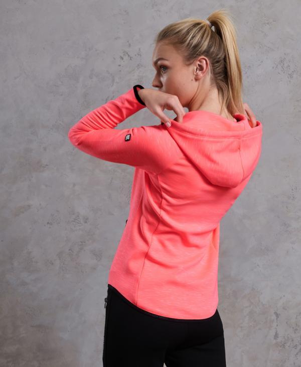 Superdry Sweat à capuche zippé Gym Tech Luxe Corail   Femme Sweat à capuche